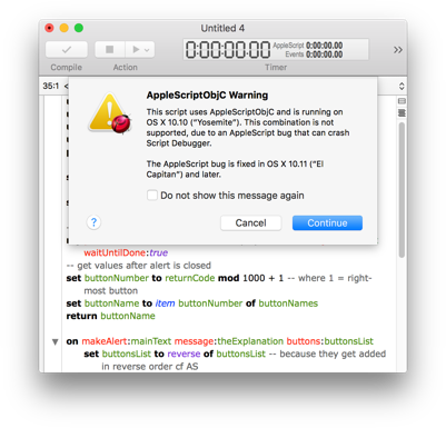 AppleScriptObjC Yosemite warning