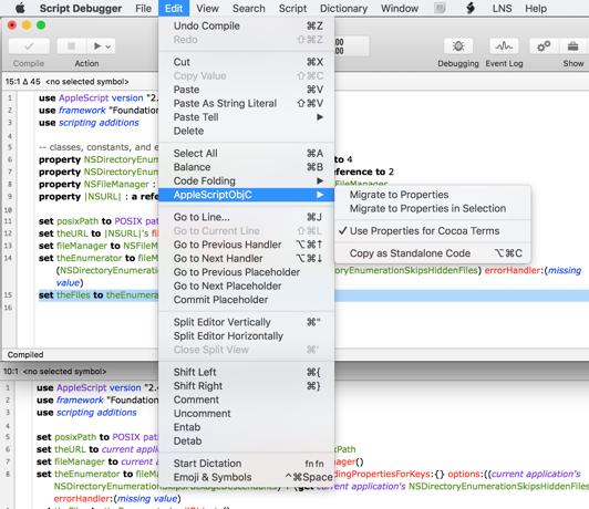 AppleScriptObjC Edit Submenu